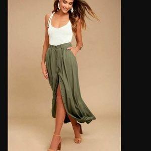 Pistola Maxi Skirt Sz M Scout Green Long Button